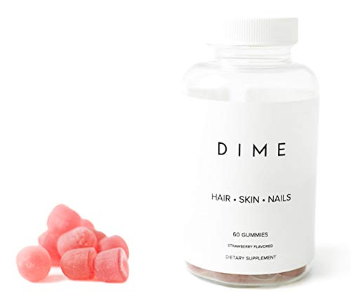 (Dime Biotin Hair Skin & Nails Growth Gummies for Adult Women & Men Vitamins Supplements | All-Natural, Max Strength Dietary Strawberry Fruit Gummy 60ct Beauty Co)