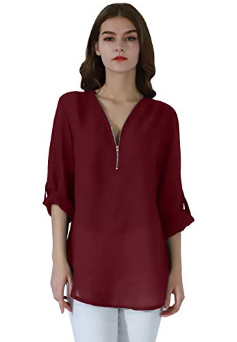 OMZIN Women's Casual Zip Sexy V-Neck Blouse Loose Top Tunic Shirt Wine Red XL ()