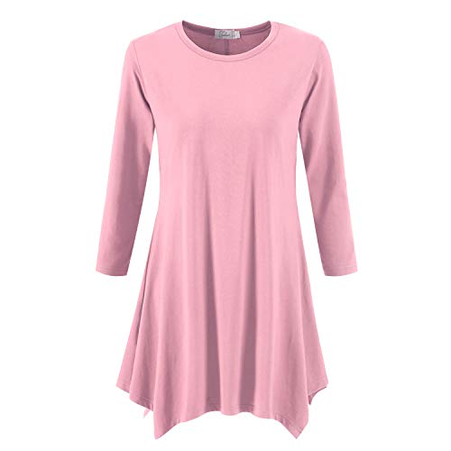 Topdress Women's Swing Tunic Tops 3/4 Sleeve Loose T-Shirt Dress Dirty Pink 3X New ()