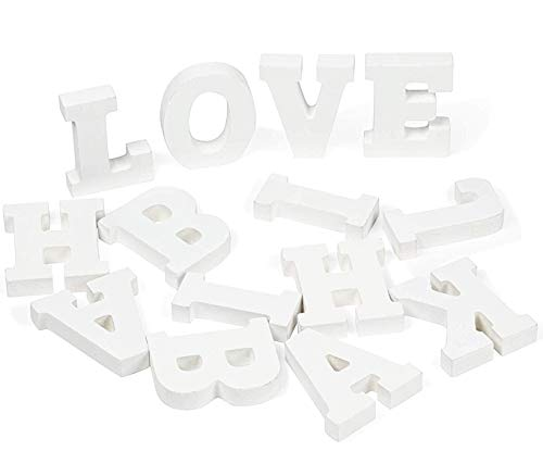 Genie Crafts White Wood Letters - 54-Piece Standing Wooden Alphabet and 2 Symbols, A - Z Marquee Letters, 1.38 x 3.13 x 0.6-Inch 3D Decor for Wedding, Birthday, Party, Home ()