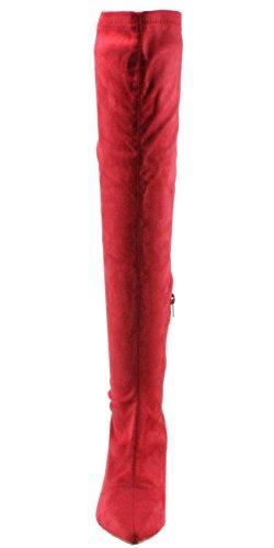 Bellamarie Kvinnor Locka-10 Faux Mocka Pekade-tå Knähöga Hög Klack Klänning Boots Röda