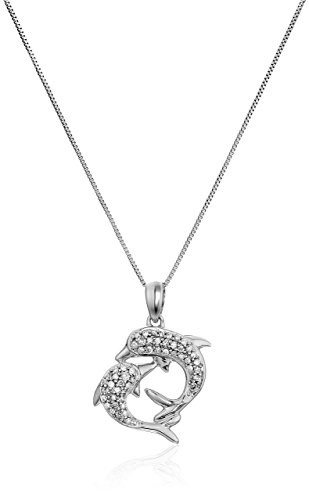 - 1/6 cttw Diamond Pendant Dolphin In 14K White Gold with 18 Inch Chain