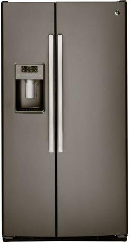 GE 22.5 Cu. Ft. Side-by-Side Refrigerator with Thru-the-Door Ice and Water Slate GSS23HMHES