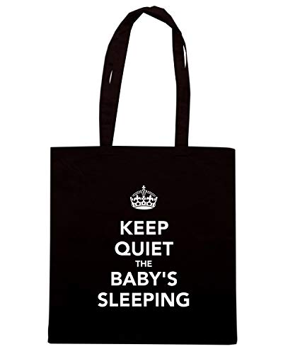 Speed Shirt Borsa Shopper Nera TKC0063 KEEP CALM AND THE BABY'S SLEEPING