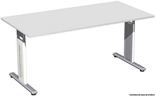 Schreibtisch höhenverstellbar, T Fuß Blende optional, 1600x800x680-820, Lichtgrau/Silber