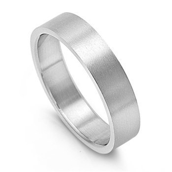 JewelryVolt Stainless Steel Ring Flat Matte Wedding Plain Brushed Flat Fit Band (6mm 7)