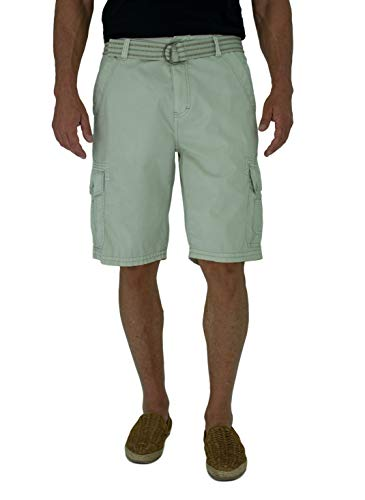 Short Fin 100% Cotton Mens Cargo Shorts W/Belt (38, Bone 8012) by Short Fin