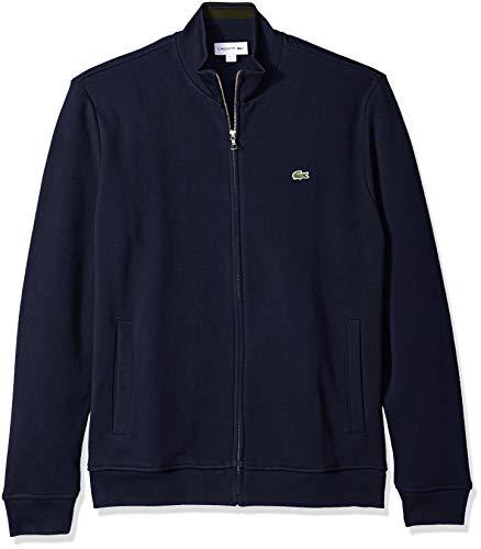 Full Zip Long Sleeve Sweater - Lacoste Men's Long Sleeve Fancy Collar Full Zip Sweatshirt, Navy Blue/Baobab, Large