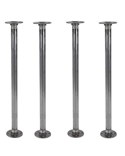 """Rustic 24 Inch Industrial Pipe Decor Table Legs - Set of 4, Authentic Rough Black Iron Fittings, Flanges and Pipes for Custom Vintage Tables and Furniture Decorations, DIY Kit with Hardware, 24"""" X 1"""""""