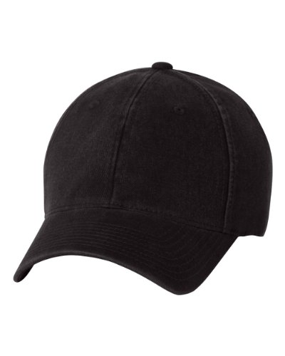 (6997 Flexfit Low Profile Garment Washed Cotton Cap - Small/Medium (Black))
