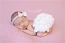Newborn Photo Props, *9 Colors to Chooose From*Ivory Lace Diaper Cover AND Matching Headband SET, Baby Photography Props, Newborn Props, Bloomers, Girl Props