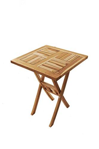 SAM® Teak-Holz Balkontisch, Gartentisch Square 60x60 cm quadratischer, zusammenklappbarer Holztisch, leicht zu verstauen