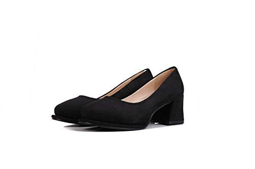 Puntera on Slip Zapatos nbsp;Tacón Tacón Allhqfashion nbsp;de Medio Cuadrada Mujer Negro Gamuza qTxOnnYg
