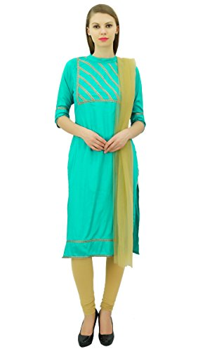 Atasi amp; Readymade Cotton Casual Indian Straight Suit Women's Beige Set Mint Cloth Green rnBxUTXrP