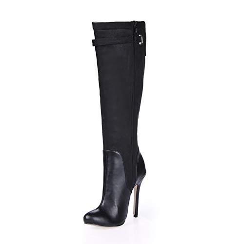 - Black Sexy Party Shoe Women Stiletto High Heels Split Buckle Lady Knee-High Boots Zippers Plus Size