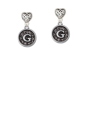 Antiqued Round Seal - Initial - G - Celtic Heart Earrings