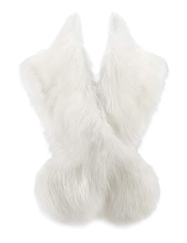Changuan Extra Large Women's Faux Fur Collar Shawl Wraps Stole Cloak Evening Cape for Winter Coat White 105cm (Fake Fur Stole White)
