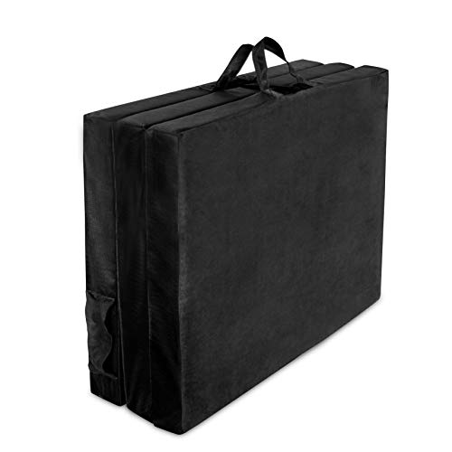American Furniture Alliance Hide A' Mat 3.5 x 35 x 77 inch Twin Trifold Mattress Mesh/Suede, Black