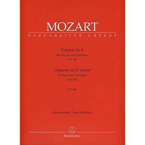 Konzert für Klavier und Orchester in D. Nr. 20 KV 466. Klavierauszug. Concerto in D minor for Piano and Orchestra No. 20 KV 466. Klavierauszug, Urtextausgabe (Partitura)