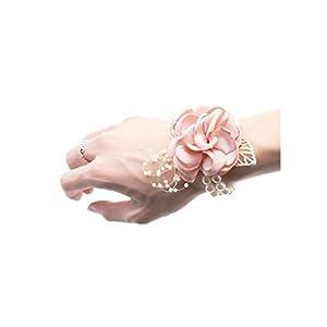 Wedding Bride Team Pearl Bracelet Wrist Flower Girls Party Favor Rose Corsage Wedding Party Hand Decorative Artificial Flower 60
