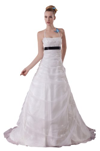 ImPrincess ip4-5104-i26 Wedding Dress Elegant Style Halter Sleeveless Tie Delicate Beading Lace Applique Ruched Long Chapel Empire Ivory Charmeuse Sleeveless Tie