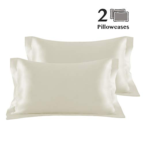 Eternal Moment 2 Pack Slip Satin Pillowcase for Hair and Skin, Soft and Stain Resistant, Envelope Closure (King 20x36, Ivory)