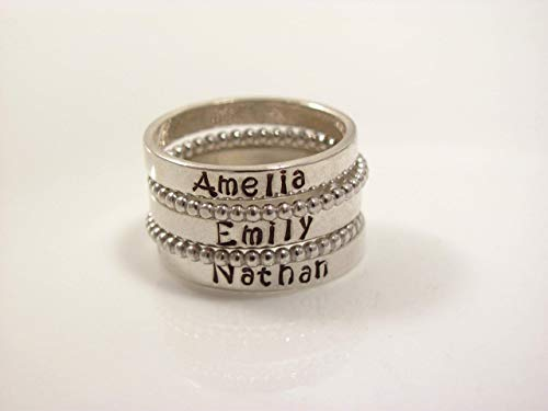 (Sterling Silver Stacking Name Ring- personalized ring- SET OF 5 -Hand Stamped Ring -Sizes 5-10-Kristin Font)