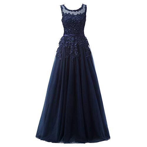 Women's Sweetheart V-Neck Tulle Appliques Long Prom Dress Formal Evening Bridesmaid Dress Floor Length A-Line Party Sleeveless Retro High Waist Wedding Maxi Cocktail Gowns Navy Blue 16
