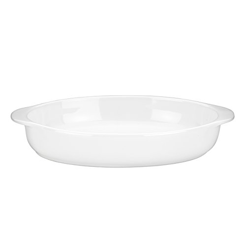 Mario Batali by Dansk 826881 Stoneware 11.5-Inch Oval Au Gratin, Large, White