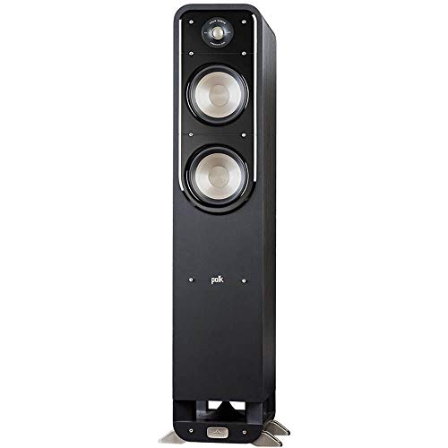Polk Signature Series S55 Floor Standing Speaker, American HiFi Surround Sound for TV, Music, and Movies, Stylish Looks, Big Sound, Bi-wire and Bi-amp, Detachable Magnetic Grille Included (Renewed)