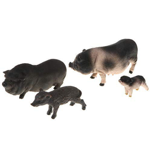 Flameer Black Pig Piggy Farm Animal Model Figurine for Kids Toddlers, Science Learning Toy,, Pack of 4