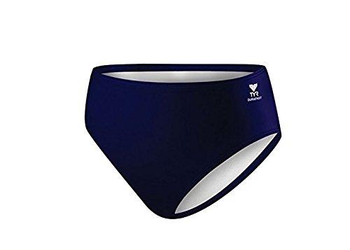 TYR Women's Solid High Waist Bikini Bottom, Navy, 6