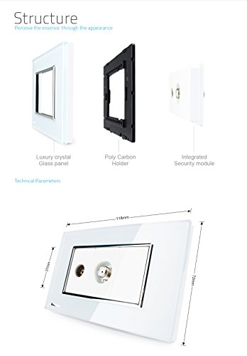 LIVOLO White US/AU Standard TV & SATV Socket Luxury Tempered Glass Panel, C391VST-81 by LIVOLO (Image #3)