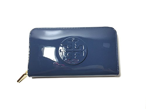Tory Burch Stacked Patent Zip Around Continental Wallet In Hudson Bay by Tory Burch