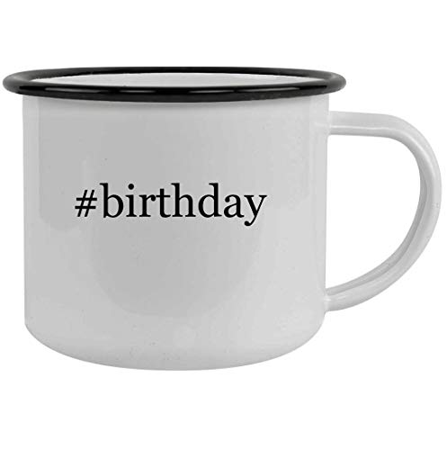 #birthday - 12oz Hashtag Stainless Steel Camping Mug, Black