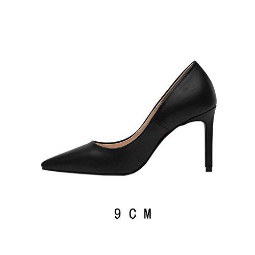 Flyrcx De Con Los Simple Moda Delgada Otoño Tacón Invierno Profesional Señora Zapatos Boca Alto Lady C Afilada SqSngrwFOT
