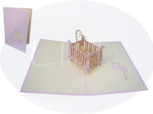 - LIN Pop Up 3D Greeting Card to Celebrate the Birth of a Baby Girl, Baby Crib, handmade (#98)