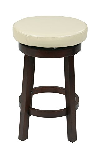 Office Star Metro Faux Leather Round Counter-Height Barstool with Footrest and Espresso Finished Legs, 24-Inch, Cream (Height Chair Bar Cm)