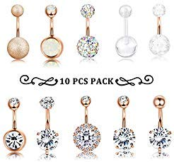 (Finrezio 10 PCS 14G Surgical Steel Belly Button Ring Navel Ear Rings CZ Body Piercing Jewelry (C: Rose-Gold-Tone))