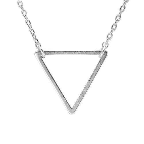 SpinningDaisy Handcrafted Brushed Triangle Necklace