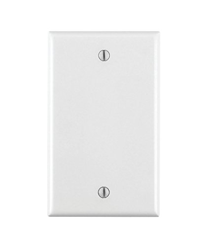 Leviton 80714-W 1-Gang No Device Blank Wallplate, Standard Size, Thermoplastic Nylon, Box Mount, 25-Pack White Piece
