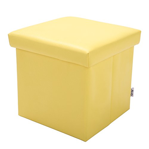 Yellow Storage Ottoman - Small Storage Ottoman Yellow Folding Step Stool for Foot Rest,11''x11''x11'',QVB Yellow Color…