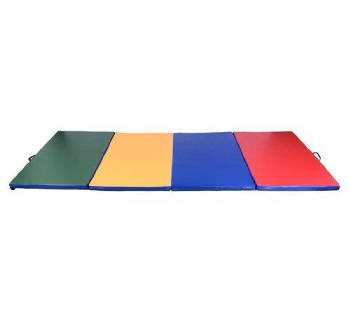 HOMCOM Turnmatte Gymnastikmatte Fitnessmatte Bodenmatte Weichbodenmatte 4 Fach klappbar (vierfarbig)