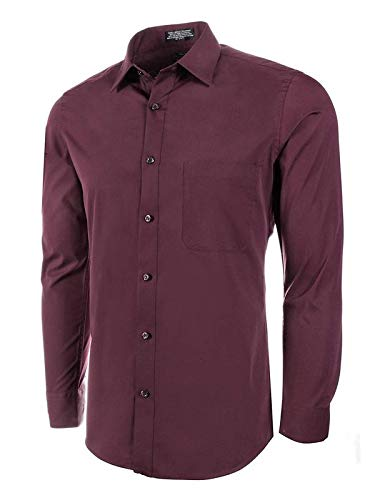 Marquis Men's Slim Fit Solid Dress Shirt (Large 16-16.5 Neck 32/33 Sleeve, Burgundy)