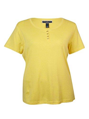 Karen Scott Women's V-Neck Solid Cotton Henley (3X, Lemon...