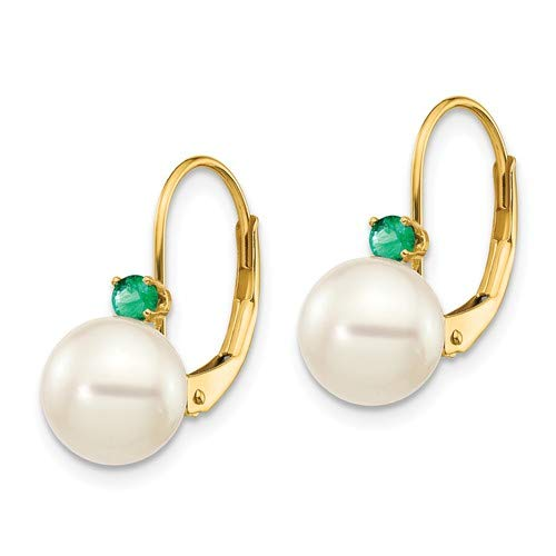 14k Yellow Gold 7-7.5mm White FW Cultured Pearl & .09ct. Emerald Leverback Ear 16 mm