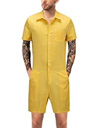 0f121db8ba1 Nicelly Mens Summer Leisure Short-Sleeve Overall Shirt Office Jumpsuit