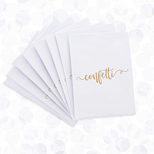 Juvale 10-Pack White Wedding Confetti Filled Toss Bags, Gold Foil Cover Design, 4.5 x 3.5 Inches