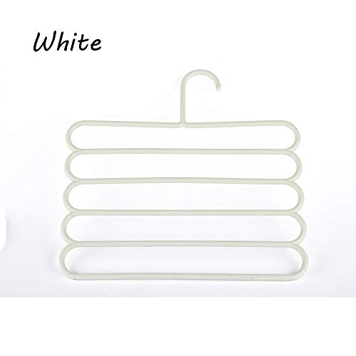 MOPOLIS 5 Layers Scarf Practical Clothes Racks Towels Holders Trousers Pants Hangers (Color - White)
