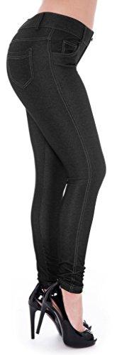 Unique Styles Women's Basic Jeggings Leggings Stretchy 5 Pockets Pants Regular Plus Sizes (2X, Black (Black Rhinestone Leggings)